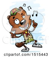 Clipart Of A Happy Dancing Female Beaver Scout Royalty Free Vector Illustration