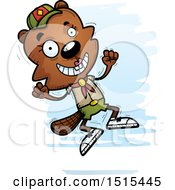 Clipart Of A Jumping Female Beaver Scout Royalty Free Vector Illustration