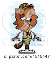 Clipart Of A Sad Female Beaver Scout Royalty Free Vector Illustration