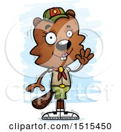 Clipart Of A Waving Female Beaver Scout Royalty Free Vector Illustration