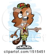 Clipart Of A Mad Pointing Male Beaver Scout Royalty Free Vector Illustration