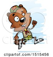 Clipart Of A Running Male Beaver Scout Royalty Free Vector Illustration