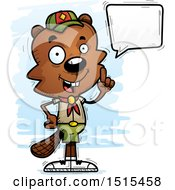 Clipart Of A Talking Male Beaver Scout Royalty Free Vector Illustration