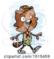 Clipart Of A Walking Male Beaver Scout Royalty Free Vector Illustration