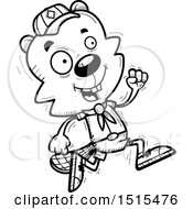 December 13th, 2017: Clipart Of A Black And White Running Male Beaver Scout Royalty Free Vector Illustration by Cory Thoman