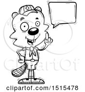 December 13th, 2017: Clipart Of A Black And White Talking Male Beaver Scout Royalty Free Vector Illustration by Cory Thoman