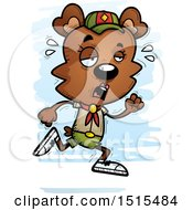 Clipart Of A Tired Running Female Bear Scout Royalty Free Vector Illustration