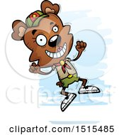 Clipart Of A Jumping Female Bear Scout Royalty Free Vector Illustration