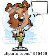 Clipart Of A Talking Female Bear Scout Royalty Free Vector Illustration
