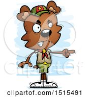 Clipart Of A Mad Pointing Male Bear Scout Royalty Free Vector Illustration