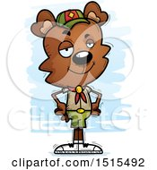 Clipart Of A Confident Male Bear Scout Royalty Free Vector Illustration