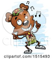 Clipart Of A Happy Dancing Male Bear Scout Royalty Free Vector Illustration