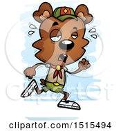 Clipart Of A Tired Running Male Bear Scout Royalty Free Vector Illustration