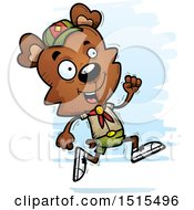 Clipart Of A Running Male Bear Scout Royalty Free Vector Illustration