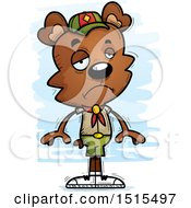 Clipart Of A Sad Male Bear Scout Royalty Free Vector Illustration