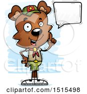 Clipart Of A Talking Male Bear Scout Royalty Free Vector Illustration