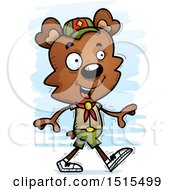 Clipart Of A Walking Male Bear Scout Royalty Free Vector Illustration