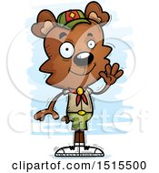 Clipart Of A Waving Male Bear Scout Royalty Free Vector Illustration