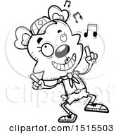 December 13th, 2017: Clipart Of A Black And White Happy Dancing Female Bear Scout Royalty Free Vector Illustration by Cory Thoman