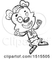 December 13th, 2017: Clipart Of A Black And White Jumping Female Bear Scout Royalty Free Vector Illustration by Cory Thoman