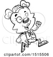 December 14th, 2017: Clipart Of A Black And White Running Female Bear Scout Royalty Free Vector Illustration by Cory Thoman