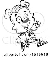 Clipart Of A Black And White Running Male Bear Scout Royalty Free Vector Illustration