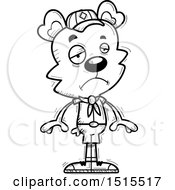 Clipart Of A Black And White Sad Male Bear Scout Royalty Free Vector Illustration