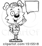 Clipart Of A Black And White Talking Male Bear Scout Royalty Free Vector Illustration