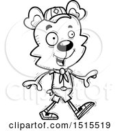 Clipart Of A Black And White Walking Male Bear Scout Royalty Free Vector Illustration