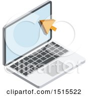 Clipart Of A 3d Cursor And Laptop Icon Royalty Free Vector Illustration