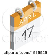 Clipart Of A 3d April 17th Calendar Icon Royalty Free Vector Illustration