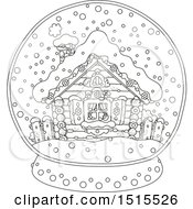 Clipart Of A Black And White Winter Cottage In A Snow Globe Royalty Free Vector Illustration by Alex Bannykh