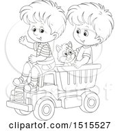 Clipart Of A Black And White Cat And Boys Playing In A Toy Dump Truck Royalty Free Vector Illustration
