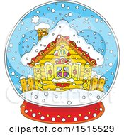Clipart Of A Winter Cottage In A Snow Globe Royalty Free Vector Illustration