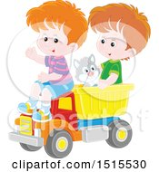 Clipart Of A Cat And Caucasian Boys Playing In A Toy Dump Truck Royalty Free Vector Illustration
