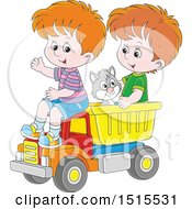 Clipart Of A Cat And White Boys Playing In A Toy Dump Truck Royalty Free Vector Illustration