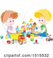 Caucasian Boys Playing With Toy Building Blocks And A Dump Truck