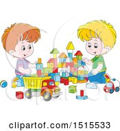 Clipart Of White Boys Playing With Toy Building Blocks And A Dump Truck Royalty Free Vector Illustration