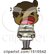 Cartoon Shouting Man With Stack Of Books by lineartestpilot