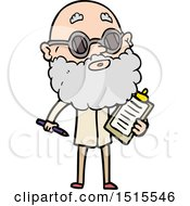 December 15th, 2017: Cartoon Curious Man With Beard And Sunglasses by lineartestpilot