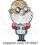 Cartoon Curious Man With Beard And Glasses by lineartestpilot