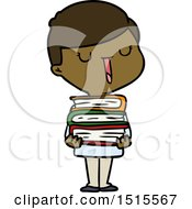 December 15th, 2017: Cartoon Happy Boy With Stack Of Books by lineartestpilot