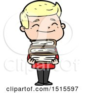 Happy Cartoon Man With Stack Of Books by lineartestpilot