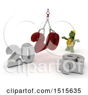 Clipart Of A 3d New Year 2020 With A Tortoise Using A Hoist Royalty Free Illustration
