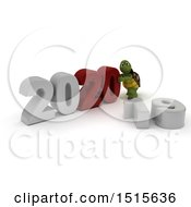 Clipart Of A 3d New Year 2020 With A Tortoise Royalty Free Illustration