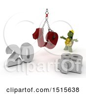 Clipart Of A 3d New Year 2019 With A Tortoise Using A Hoist Royalty Free Illustration