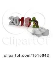 Clipart Of A 3d New Year 2019 With A Tortoise Royalty Free Illustration by KJ Pargeter