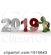 Clipart Of A 3d New Year 2019 With A Tortoise Royalty Free Illustration