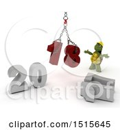 Clipart Of A 3d New Year 2018 With A Tortoise Using A Hoist Royalty Free Illustration by KJ Pargeter