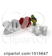 Clipart Of A 3d New Year 2018 With A Tortoise Royalty Free Illustration by KJ Pargeter